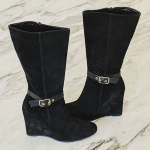 Coach Stockard Suede Wedge Boots 8.5